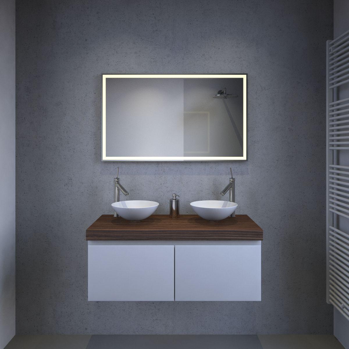 badkamer led spiegel met verwarming en sensor 100x60 cm. Black Bedroom Furniture Sets. Home Design Ideas