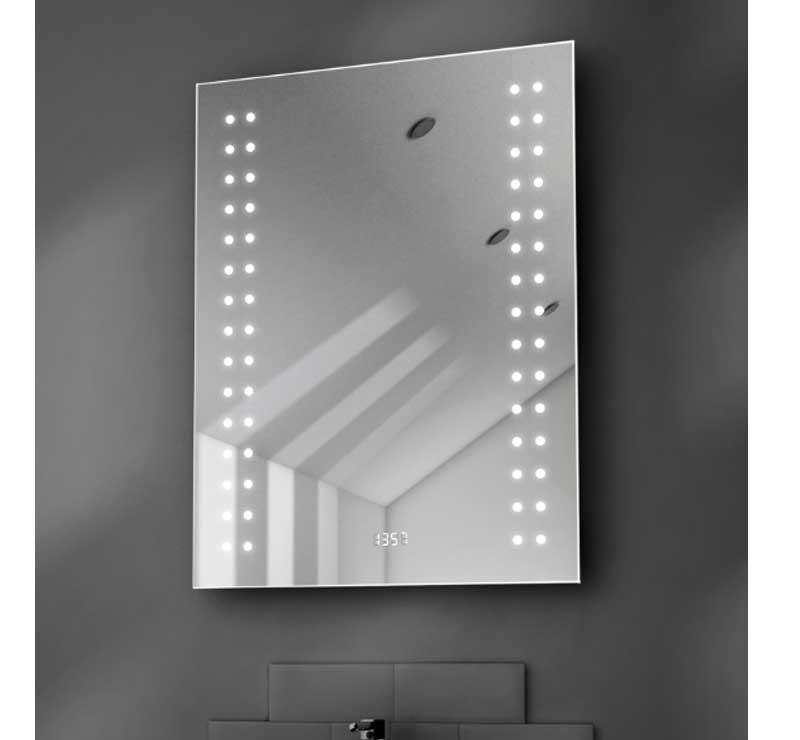60 cm spiegel met klok en verwarming