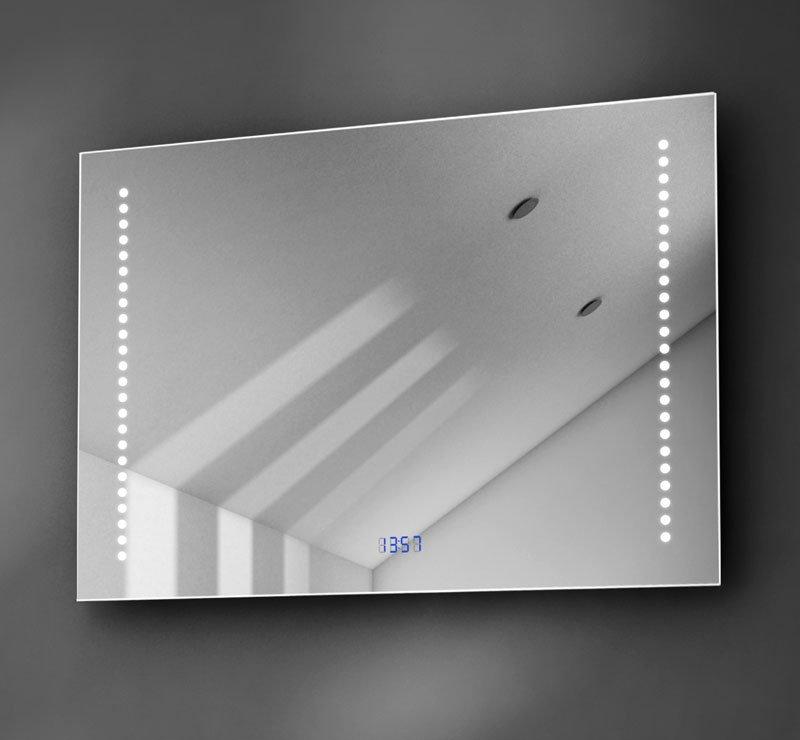 70 cm brede badkamer spiegel met klok, verlichting en verwarming