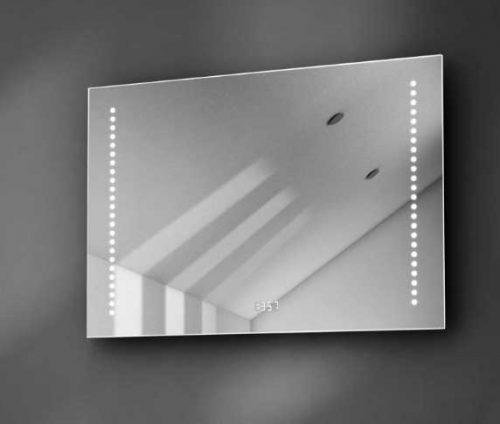 70 cm brede badkamer spiegel met ingebouwde klok, verlichting en verwarming