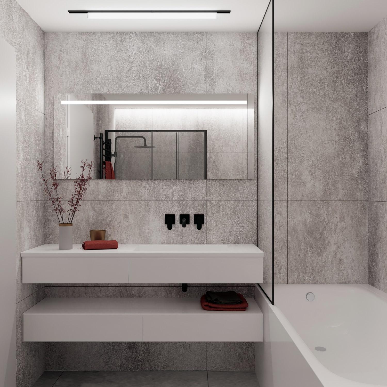 Deze design badkamer spiegel is 140 cm breed, 60 cm hoog en slechts 3 cm diep
