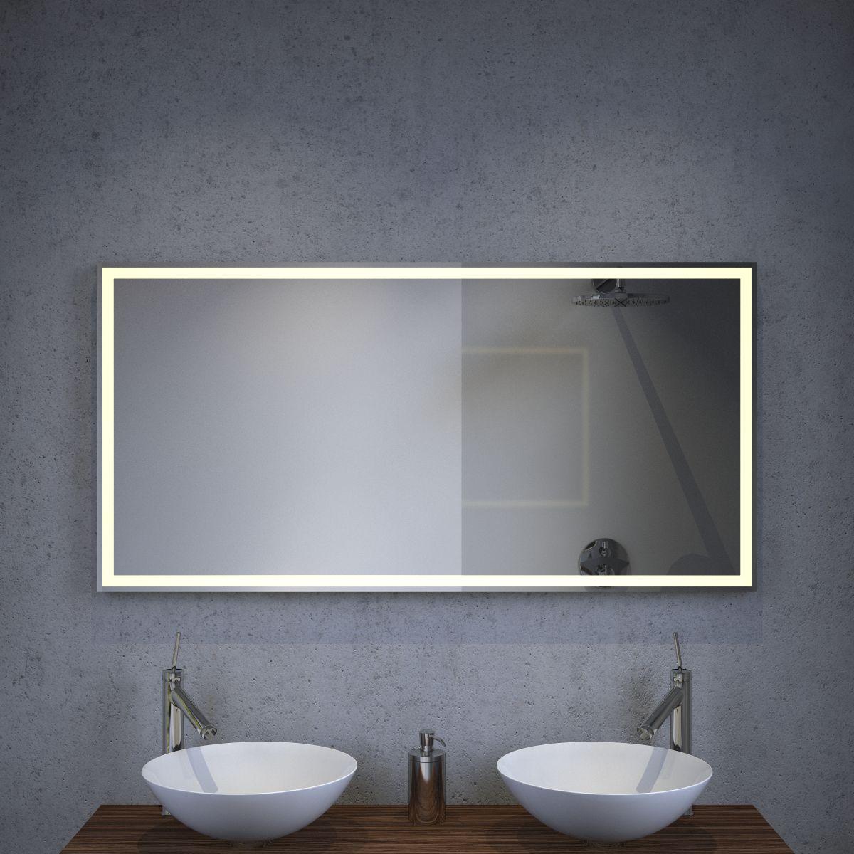 Hoogte Spiegelkast Badkamer.Badkamer Led Spiegel Met Verwarming En Sensor 120x60 Cm Designspiegels