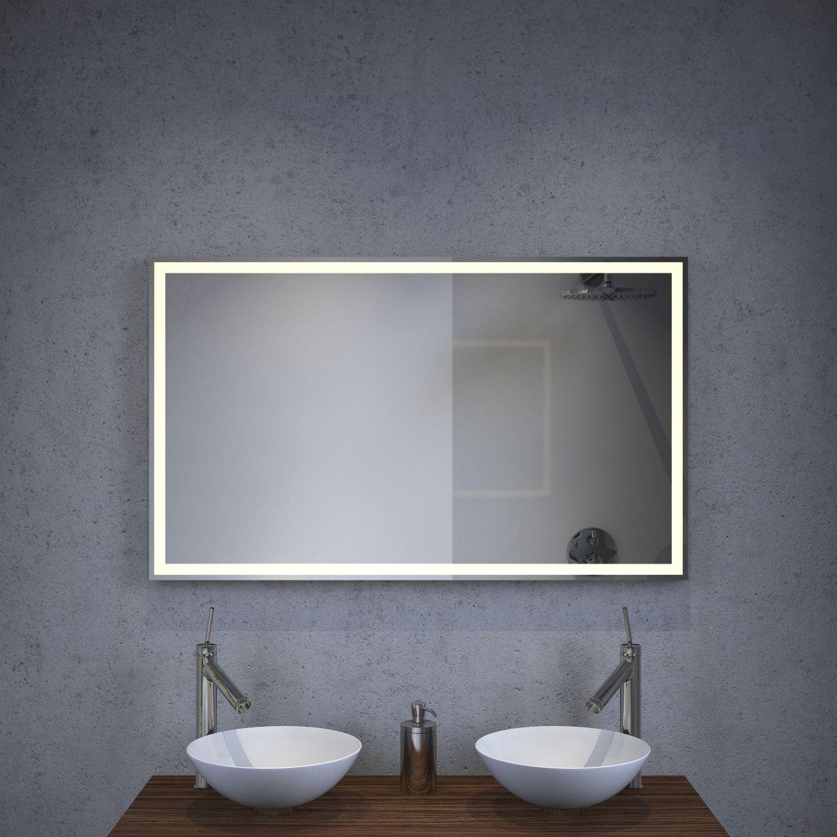 badkamer led spiegel met verwarming en sensor 100x60 cm designspiegels. Black Bedroom Furniture Sets. Home Design Ideas