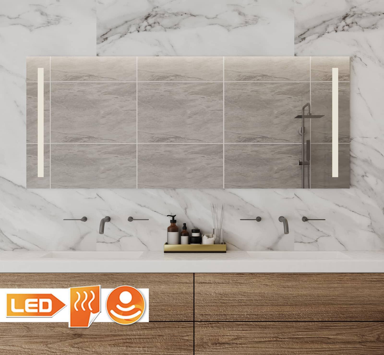 140 cm brede badkamer spiegel met verlichting verwarming en dimmer