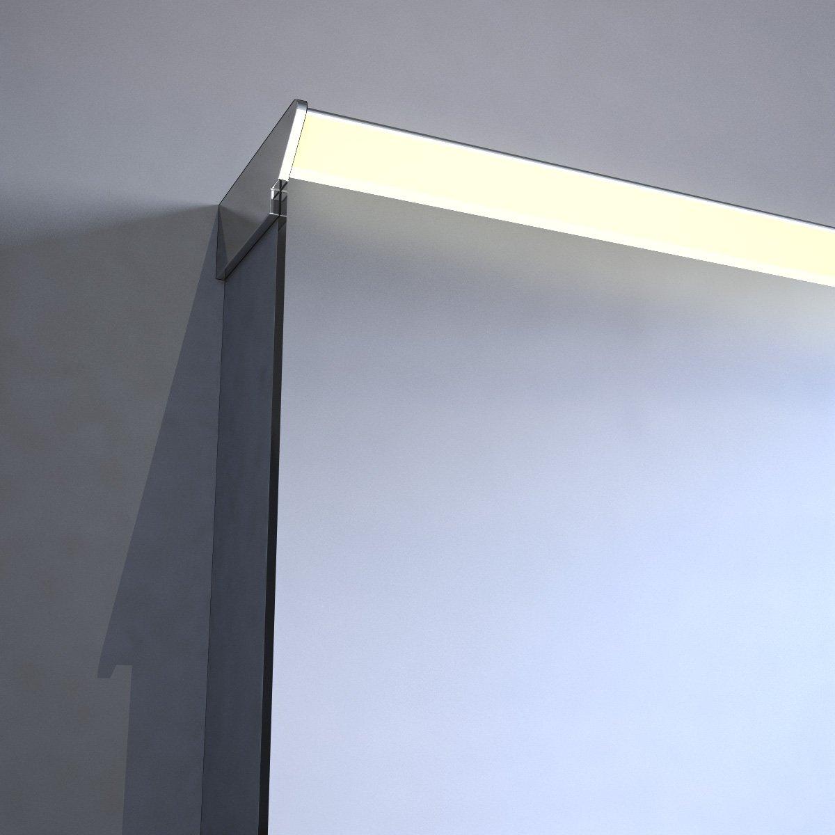 Nieuw model badkamerspiegel met fraaie directe en indirecte verlichting en verwarming 100 cm - Spiegel tv badkamer ...