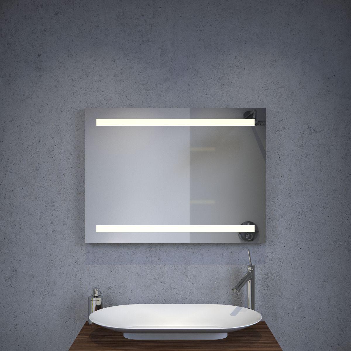 Verwarmde badkamer LED spiegel met sensor 80x60 cm - Designspiegels