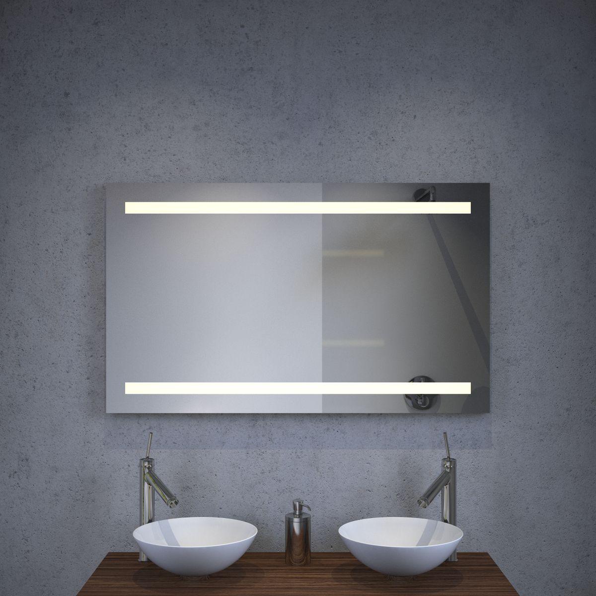 badkamerspiegel met led verlichting spiegelverwarming en sensor schakelaar 100 cm breed. Black Bedroom Furniture Sets. Home Design Ideas