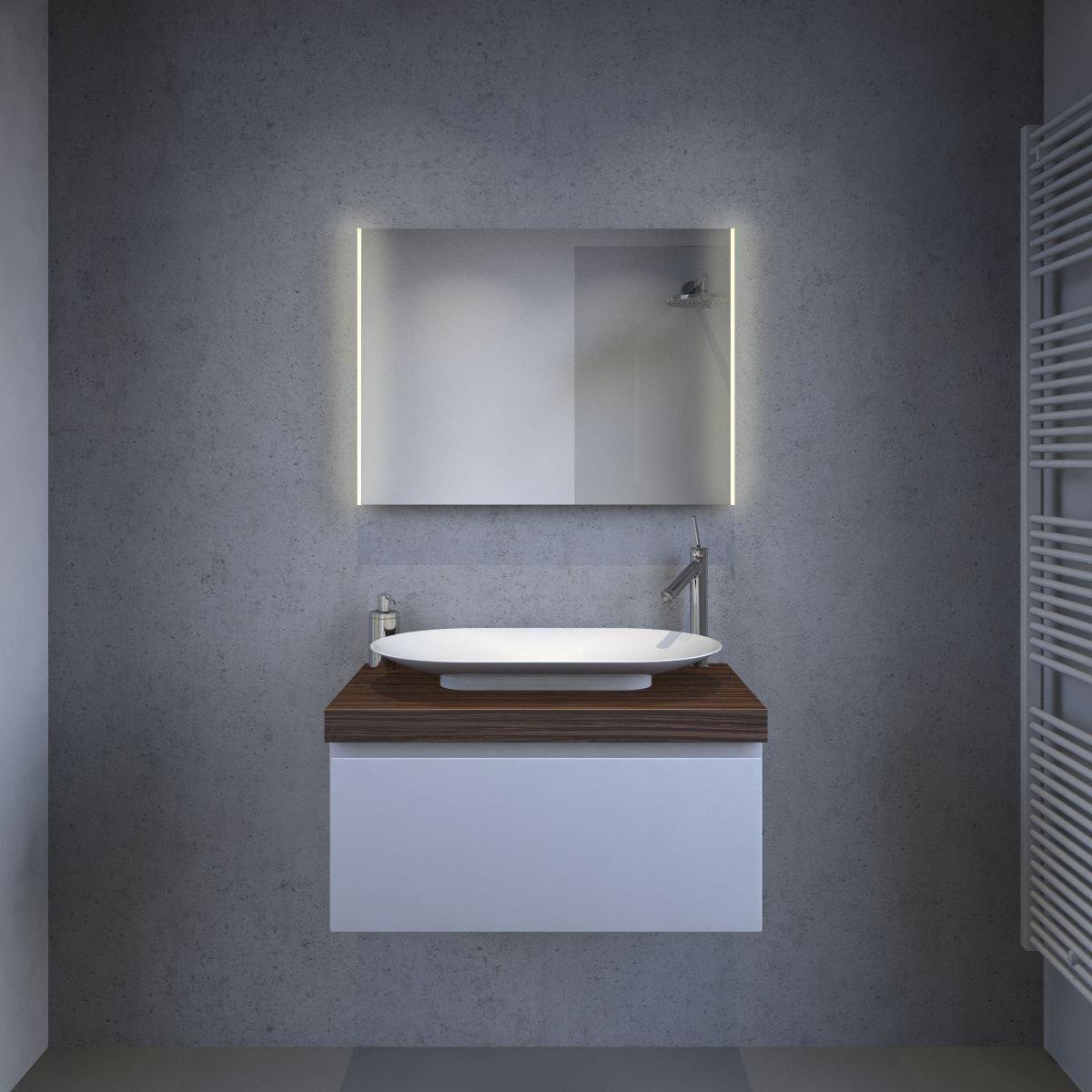 Luxe badkamerspiegel met praktische led verlichting links for Scheerspiegel blokker