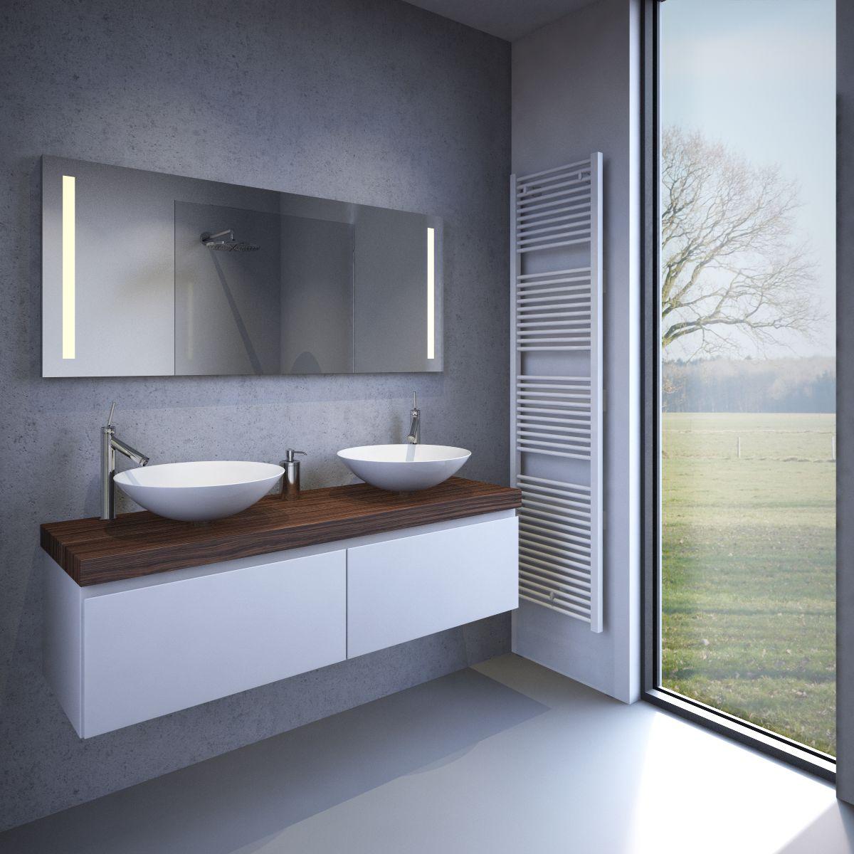 badkamer led spiegel met verwarming en sensor 140x60 cm designspiegels. Black Bedroom Furniture Sets. Home Design Ideas