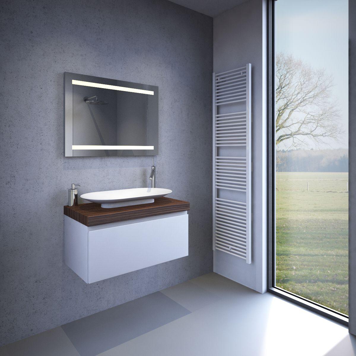 verwarmde badkamer led spiegel met sensor 80x60 cm designspiegels. Black Bedroom Furniture Sets. Home Design Ideas