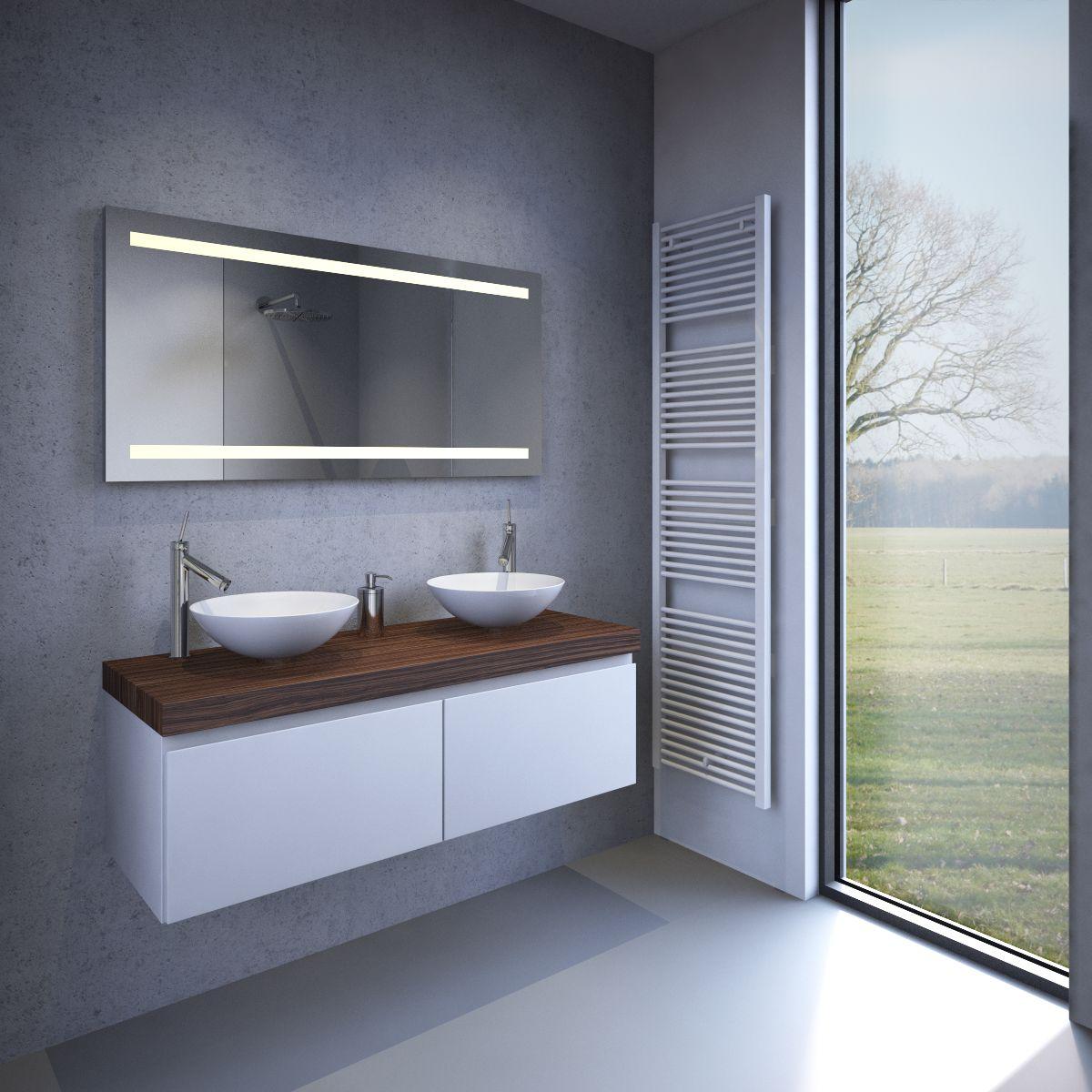 badkamer led spiegel met verwarming en sensor 120x60 cm designspiegels. Black Bedroom Furniture Sets. Home Design Ideas