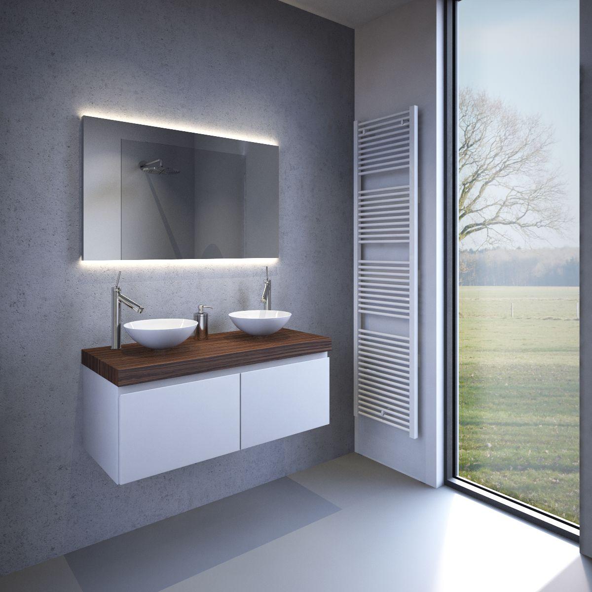 design badkamer spiegel met indirect strijklicht en spiegelverwarming 100x60 cm designspiegels. Black Bedroom Furniture Sets. Home Design Ideas