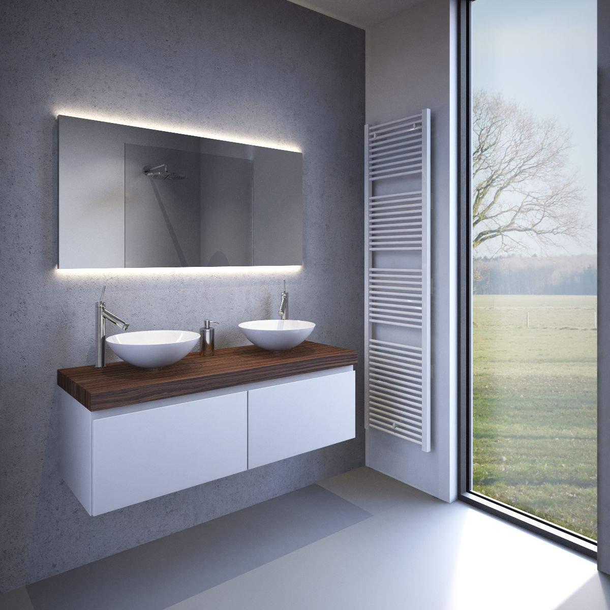 ... badkamer spiegel met strijklicht en spiegelverwarming 120u00d760 cm