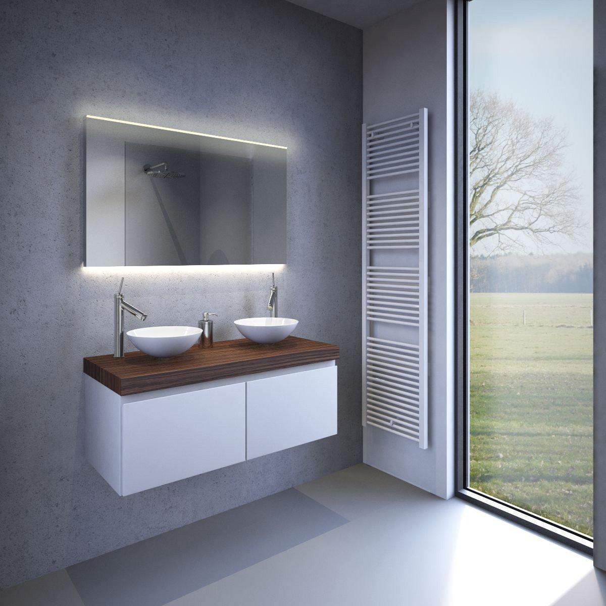 Nieuw model badkamerspiegel met fraaie directe en indirecte verlichting en verwarming 100 cm for Badkamer model
