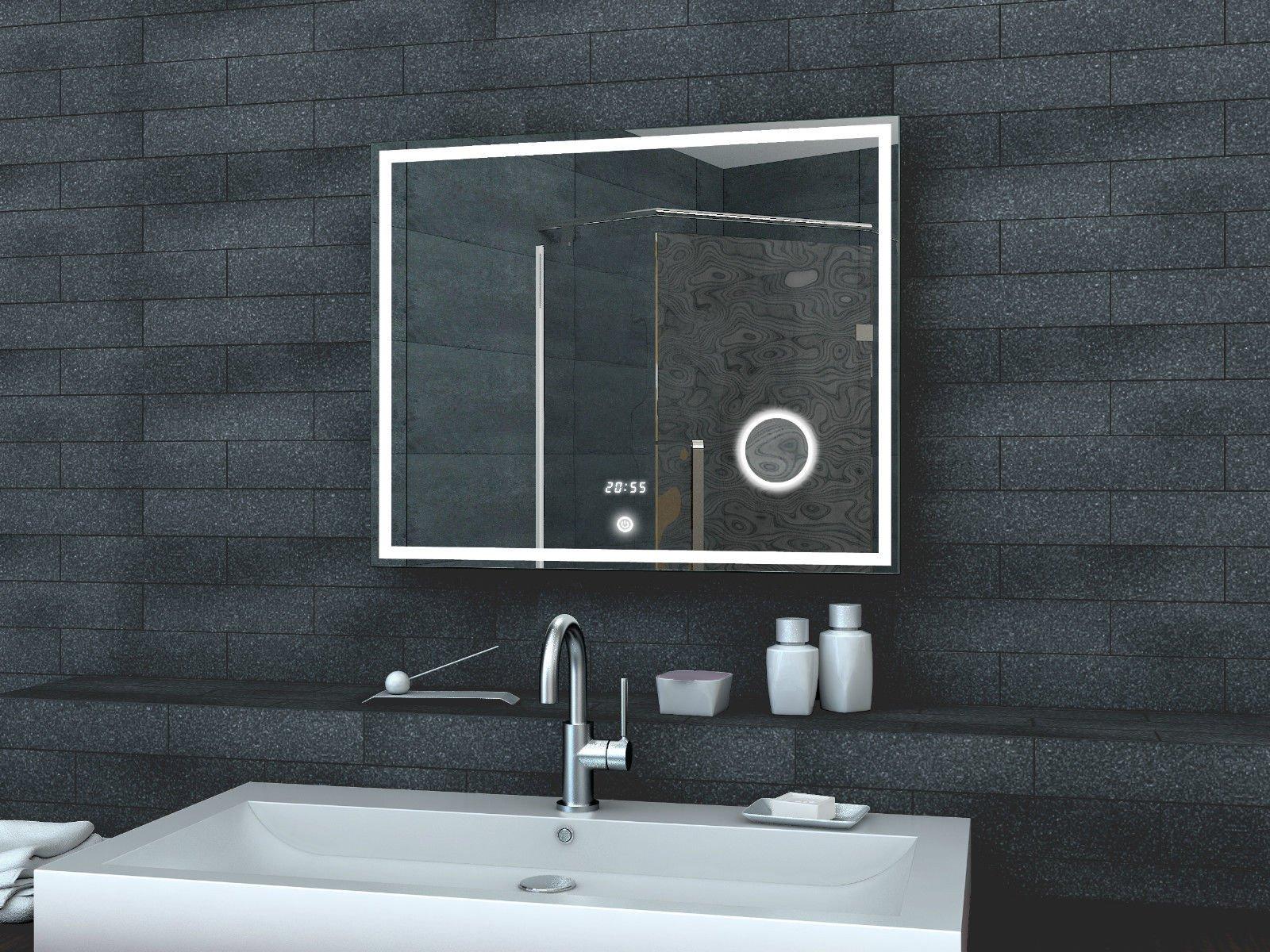 Spiegel Met Klok : Led spiegel met make up spiegel digitale klok en touch schakelaar