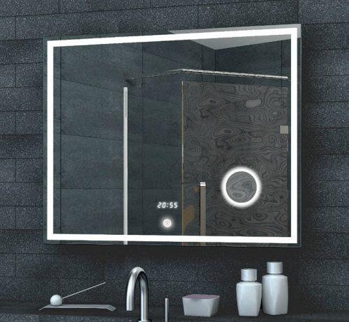 Fraaie LED spiegel met witte klok en vergrootspiegel