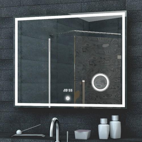 led spiegel met make up spiegel digitale klok en touch schakelaar 80x60 cm designspiegels. Black Bedroom Furniture Sets. Home Design Ideas