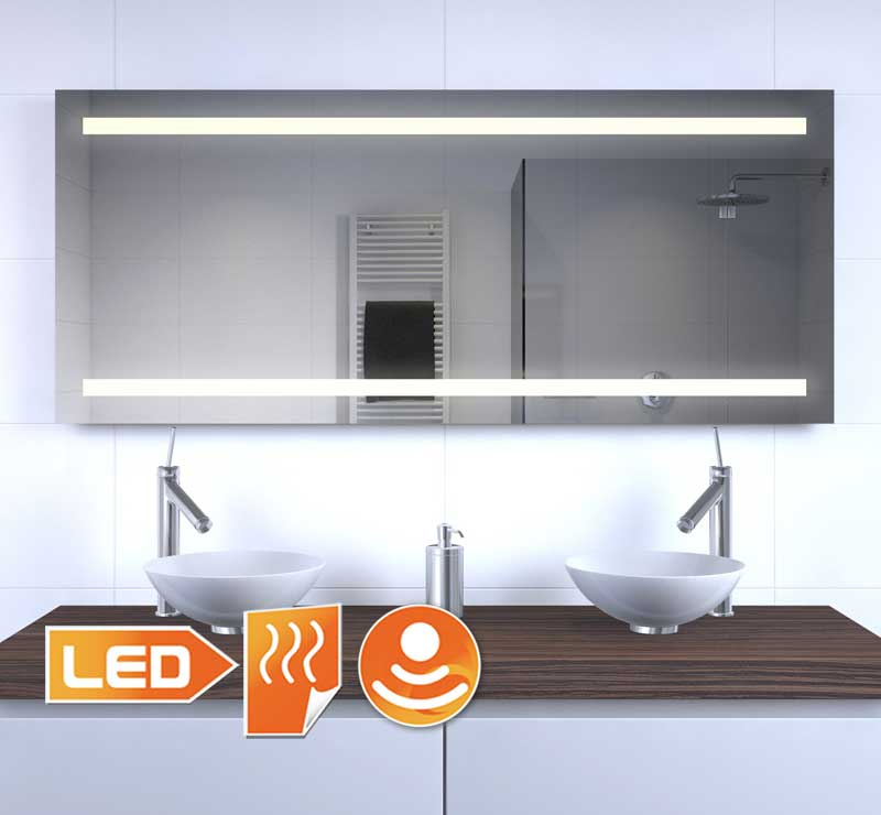 Deze LED spiegel met verwarming is 140 cm breed en 60 cm hoog