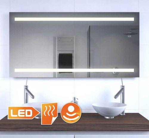Deze LED spiegel met verwarming is 120 cm breed en 60 cm hoog