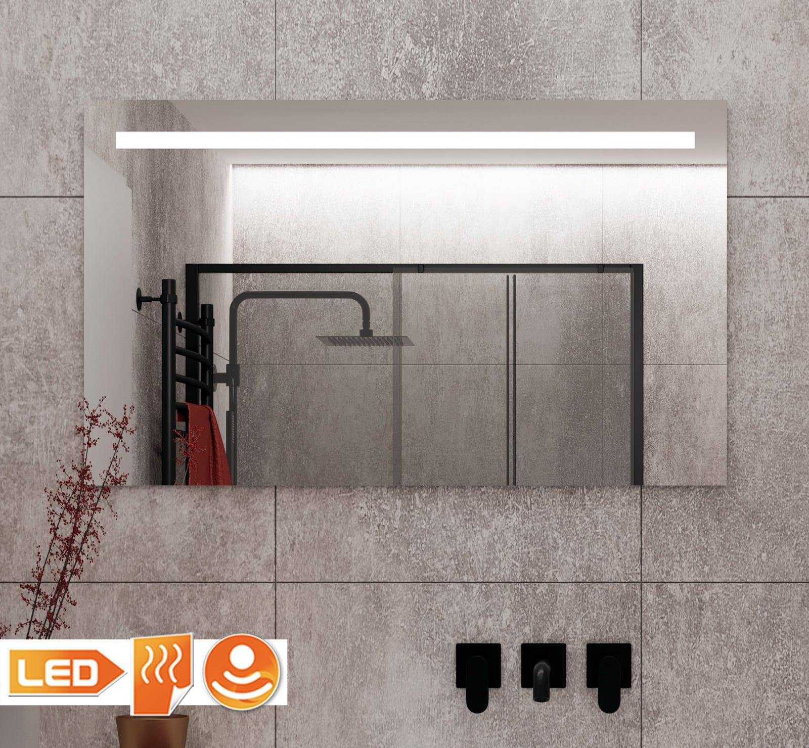 Badkamer spiegel met verlichting verwarming en dim functie op grijze tegel