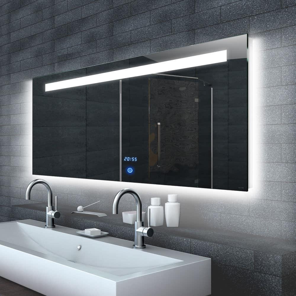 led spiegel met touch schakelaar en digitale klok 120x65. Black Bedroom Furniture Sets. Home Design Ideas