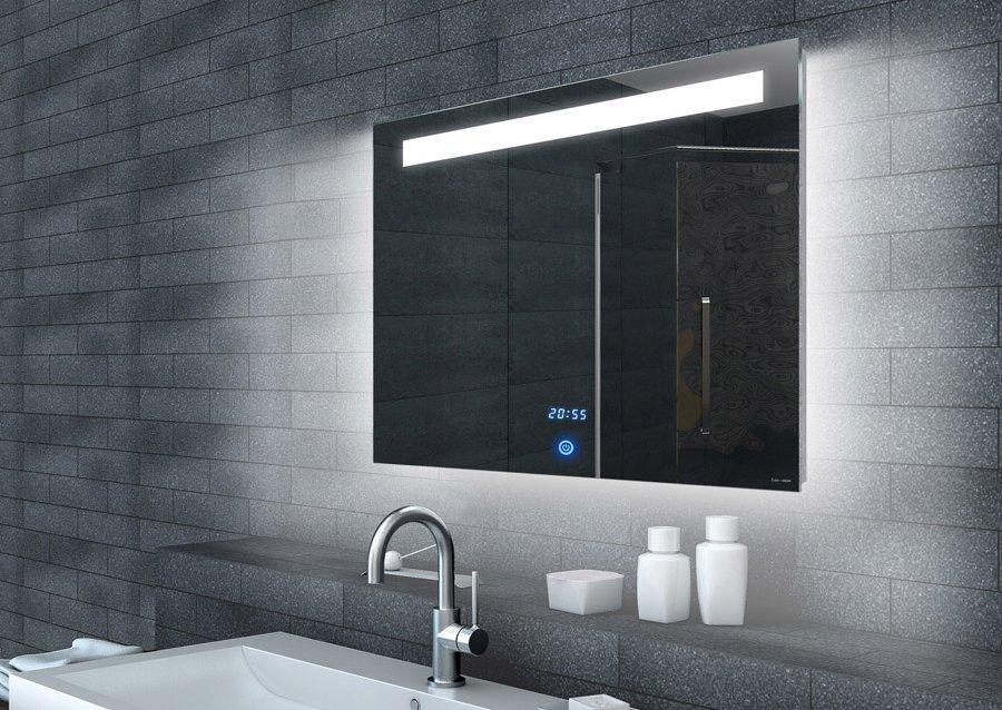 LED spiegel met touch schakelaar en digitale klok 80x65 cm ...