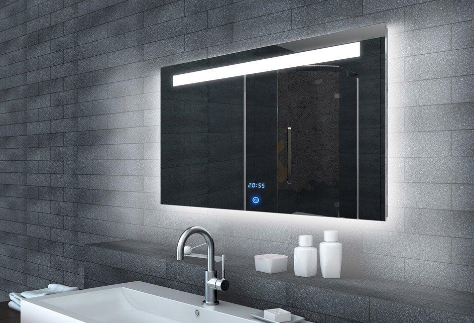 LED spiegel met touch schakelaar en digitale klok 100x65 cm ...