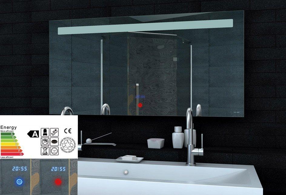 Spiegel Met Klok : Led spiegel met touch schakelaar en digitale klok 120x65 cm