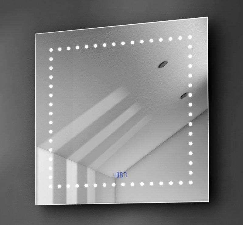 Vierkante spiegel met klok, verwarming en verlichting