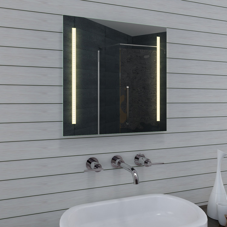 Badkamer spiegel met 2 kleuren verlichting 60x60 cm for Spiegel badkamer verlichting