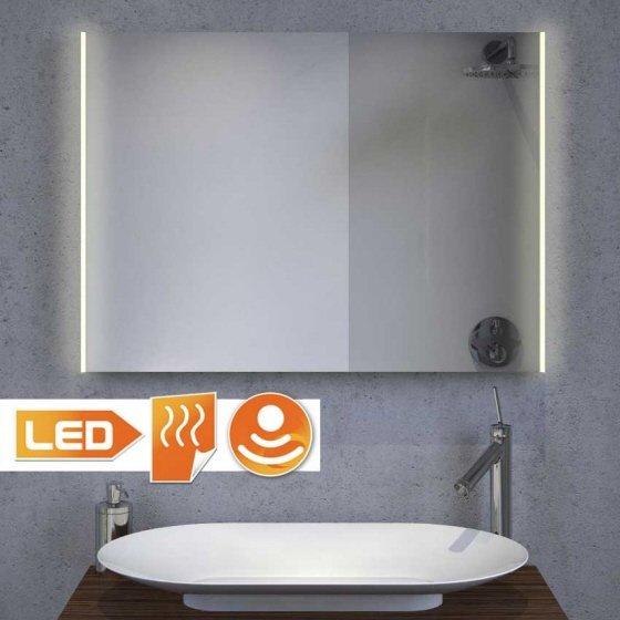 Luxe badkamerspiegel met praktische LED verlichting links en rechts, inclusief spiegelverwarming - 80 cm breed