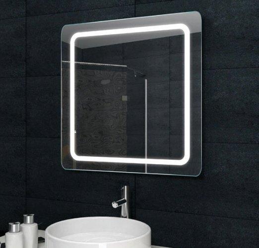 Fraaie LED spiegel met afgeronde hoeken 60x60 cm