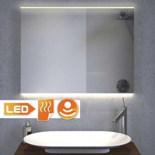 Badkamerspiegel met stijlvolle LED verlichting aan de bovenzijde en strijklicht aan de onderzijde - 80 cm breed
