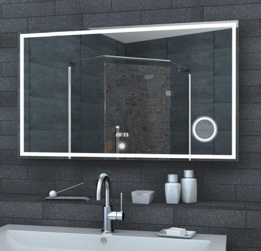 LED spiegel met make-up spiegel, digitale klok 100x60 cm