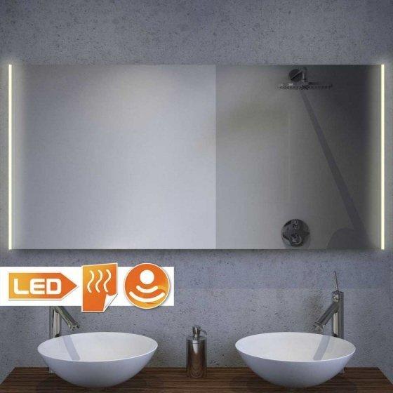 Fraaie LED spiegel met handige spiegelverwarming en dim funcie 120x60 cm