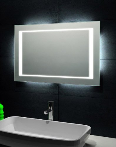 Designspiegel met tl verlichting 100x60 cm