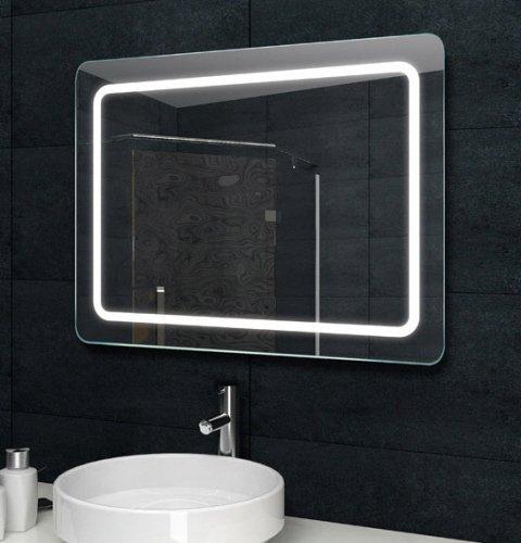 Fraaie LED spiegel met afgeronde hoeken 80x60 cm
