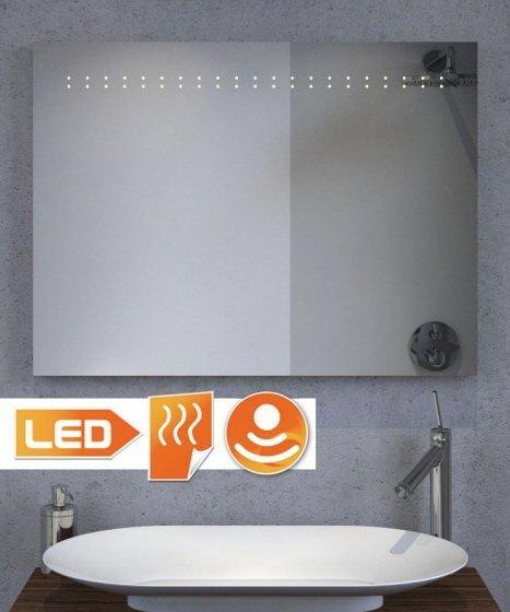 Verwarmde spiegel met LED verlichting en sensor 80x60 cm
