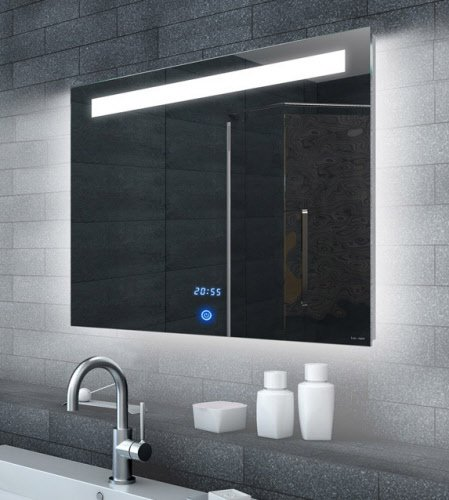 LED spiegel met touch schakelaar en digitale klok 80x65 cm