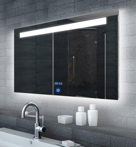 LED spiegel met touch schakelaar en digitale klok 100x65 cm
