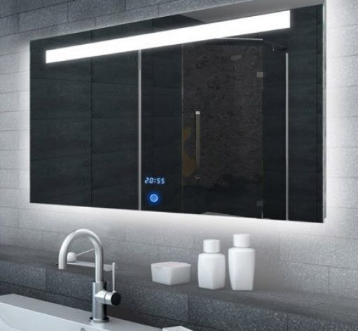 LED spiegel met touch schakelaar en digitale klok 120x65 cm
