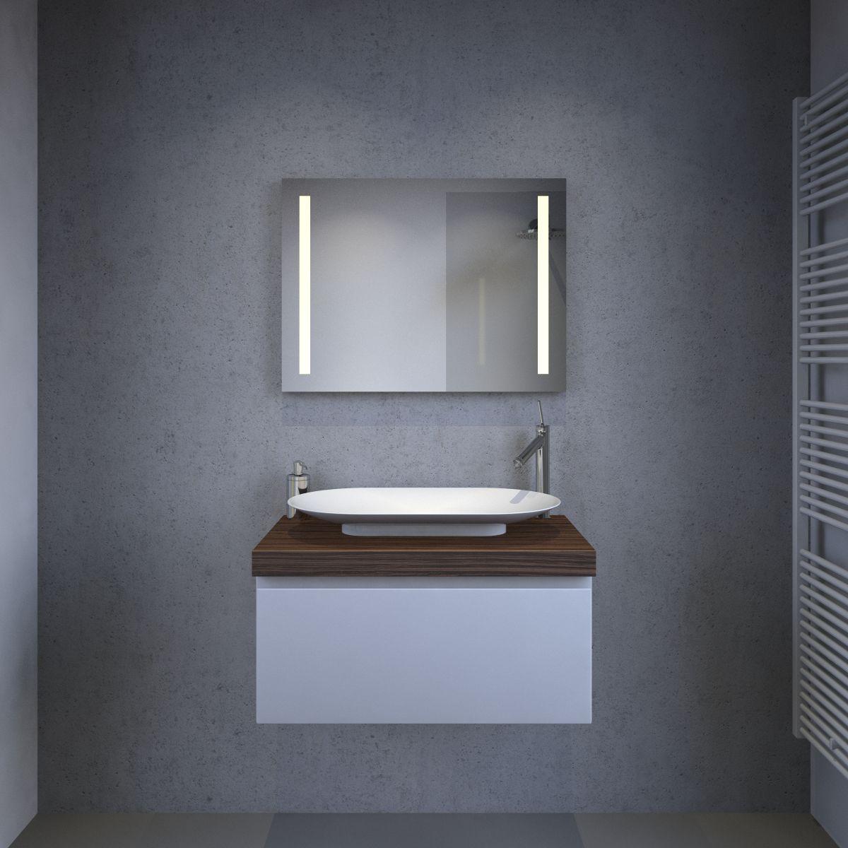 Luxe badkamer led lichtspiegel met verwarming en sensor 80x60 cm designspiegels - Spiegel tv badkamer ...