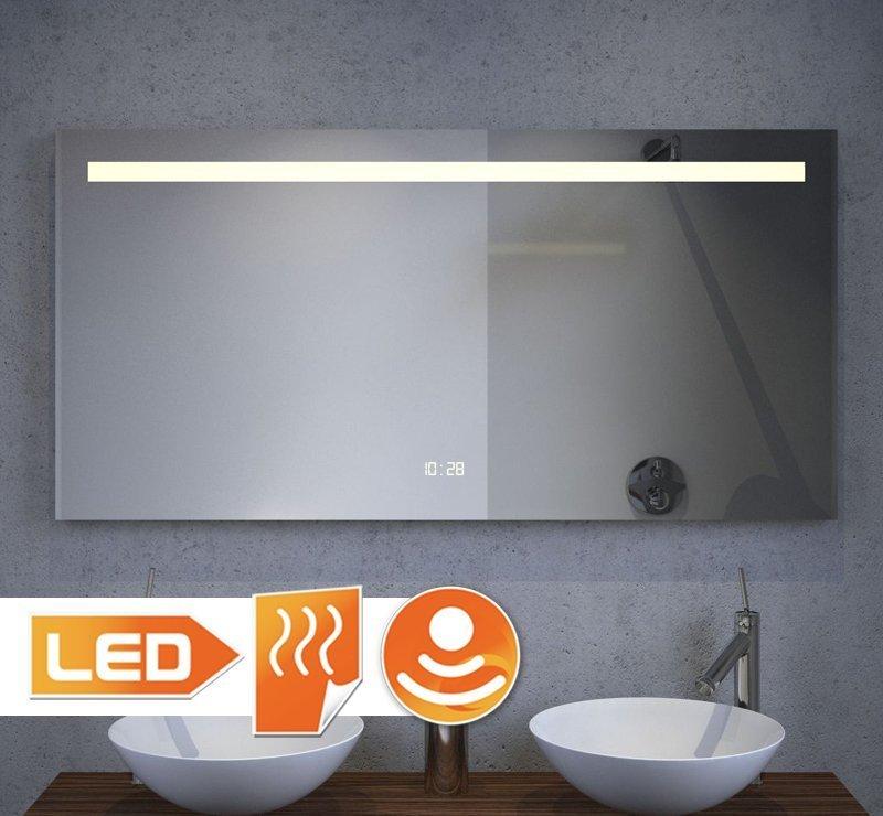 120 cm LED spiegel met klokje