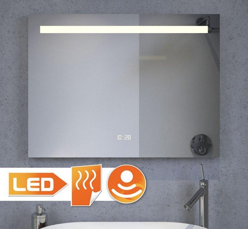 80 cm LED spiegel met klokje