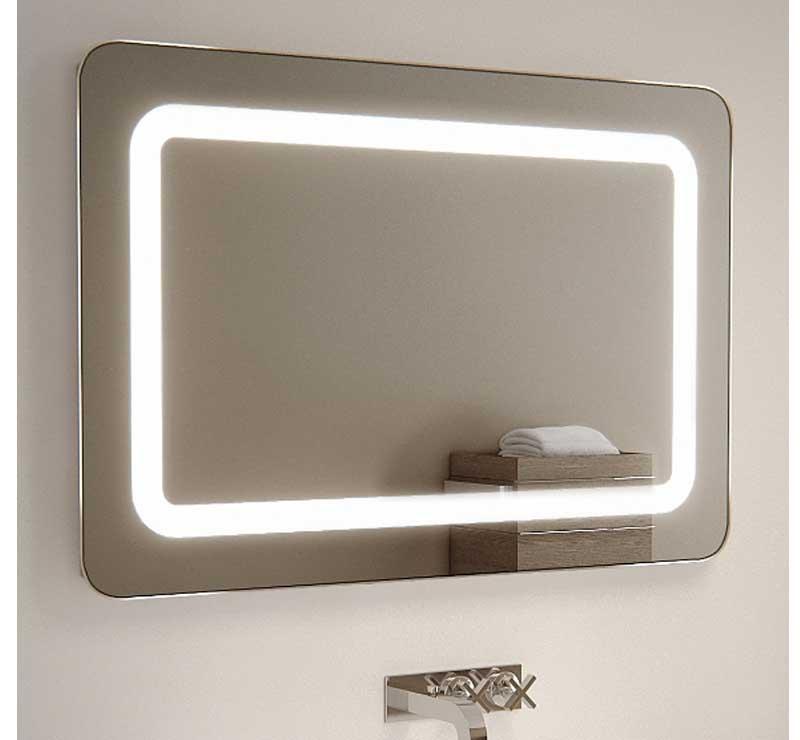 90 cm brede badkamerspiegel met afgeronde hoeken, verlichting en verwarming