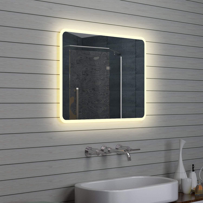 Badkamerspiegel met afgeronde hoeken 80x60 cm designspiegels for Spiegel 80 x 180