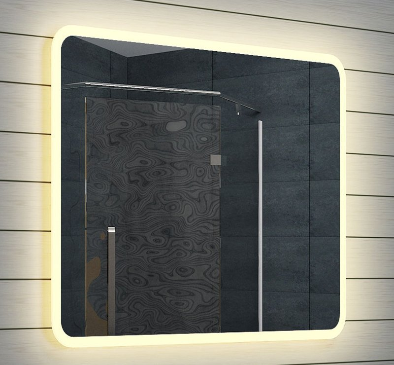 badkamer spiegel met warm witte led verlichting
