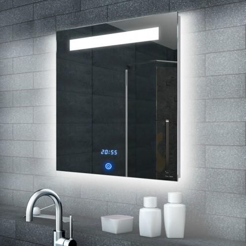 Badkamerspiegel met klok en touch schakelaar 60x65 cm designspiegels - Spiegel tv badkamer ...