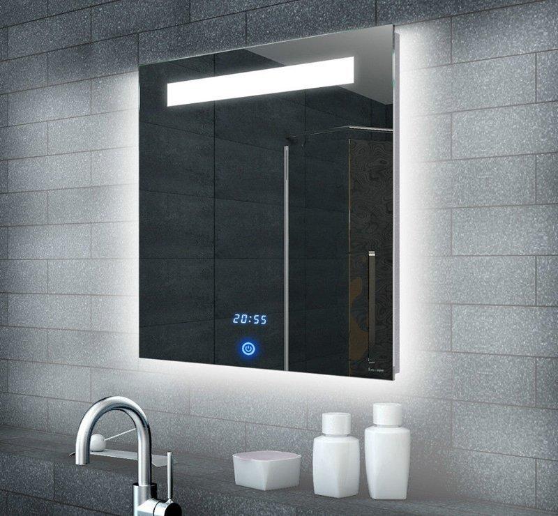 Badkamerspiegel met klok en touch schakelaar 60x65 cm for Verlichting badkamerspiegel