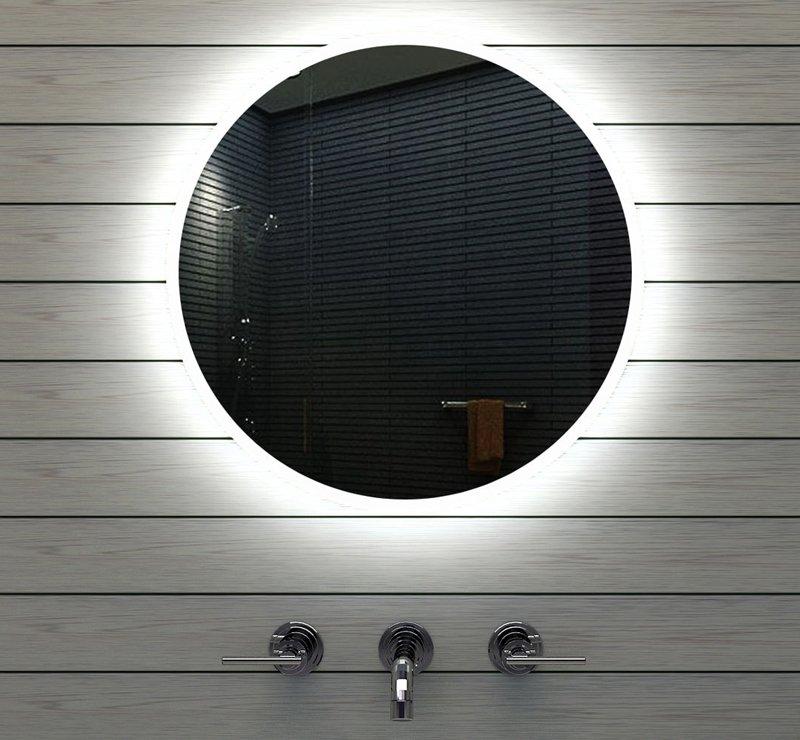 Ronde badkamerspiegel met strijklicht